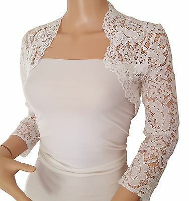 Womens Ivory Corded  Lace 3/4 or Short sleeve Bolero/Jacket Sizes 8 to 18