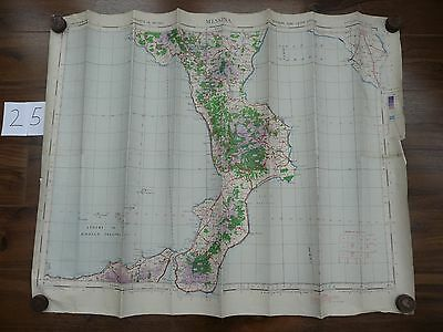 Genuine Vintage WW2 World War Two RAF Issue Map of MESSINA, Italy 1942  MAP25