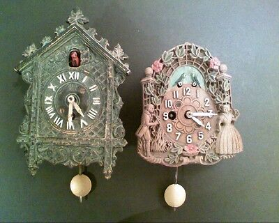 Vintage 1930's Small House Keebler & Lux Cuckoo Style Novelty Wall Clocks