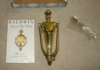 BALDWIN Lifetime Polished Solid Brass French Door Knocker~NEW IN BOX~$55 Retail