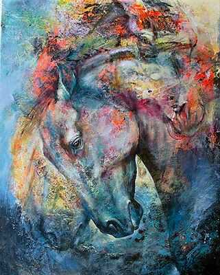 HORSE Signed Print equestrian EQUINE abstract western art IJ ART - collectable