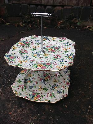 Vintage Royal Winton Grimwades Queen Anne China Two Tier Cake Stand (Chintz)