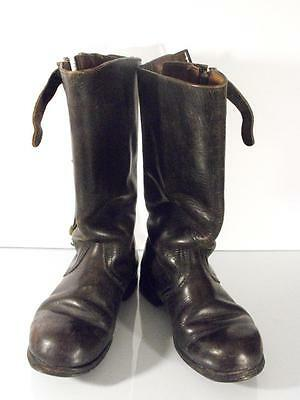 AUTHENTIC BLACK LEATHER WWII WW2 German Third Reich Luftwaffe Flying Boots