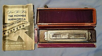 Vintage Germany Harmonica Hohner Very Best Tremolo Concert Harp 48 1/2 Book Box