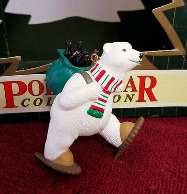 Coca Cola Tree Ornament Polar Bear Snowshoeing North Pole Delivery 1995