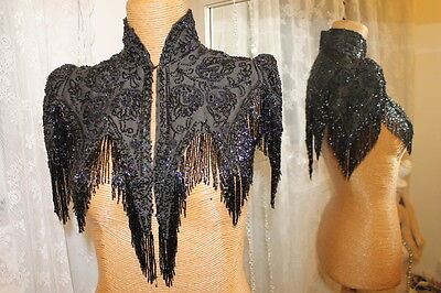 Victorian Edwardian black beaded capelet - Ditsy Vintage - 8 Small Steampunk