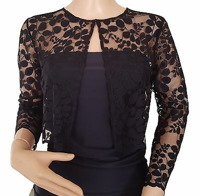 Womens Black or Dark Navy lace 3/4 sleeve  Bolero/jacket UK sizes 8 -18