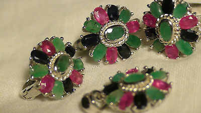 Natural! Ruby,sapphire, Emerald Earrings 925 Sterling Silver, $1250
