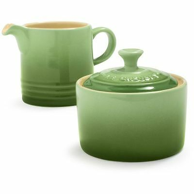 NEW IN BOX Le Creuset Cream and Sugar Set in Rosemary Green FREE SHIPPING