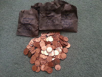 250 x 1971 - 1/2 HALF PENNY COIN  DECIMAL UNCIRCULATED in 5 x Midland Bank Bags