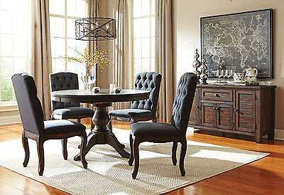 ADAMS - 5pcs Traditional Dark Brown Round Oval Dining Room Table & Chairs Set