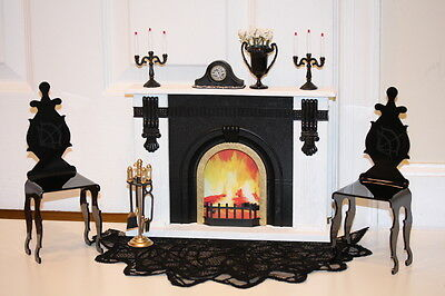2 Dark Hunter Chairs~Ooak Fireplace~Lace Rug~Fashion Royalty/barbie