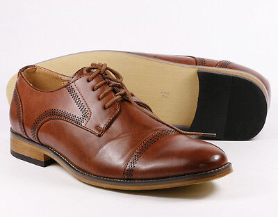Men's Pre-Owned Brown Cap Toe Lace up Oxford Dress Shoes