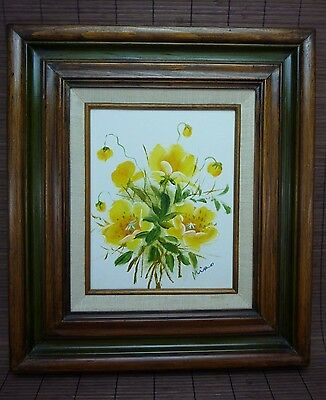 "Acrylic Painting Art / Original Signed Framed / Yellow Buds & Flowers / 8"" x 10"""