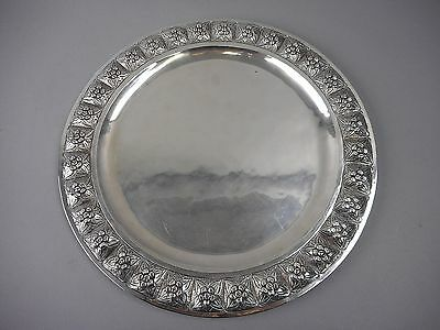Sterling Silver AZTEC ROSE Round Repousse Tray by Sanborns of Mexico Handwrought