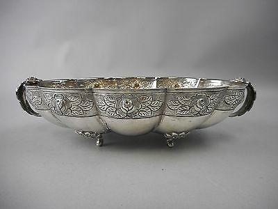 Sterling Silver AZTEC ROSE Repousse Oval Vegetable Bowl by Sanborns of Mexico