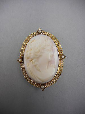 Antique 10 Karat Gold & Pearl Mounted Cameo Pendant or Pin 3.8 Pennyweight
