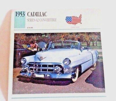 1953 CADILLAC SERIES 62 CONVERTIBLE CARD  Photo Spec/Stat/Info - MINT CONDITION