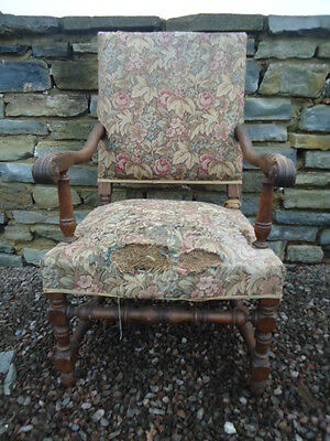 Large open arm Oak Carolean style throne chair for upholstery