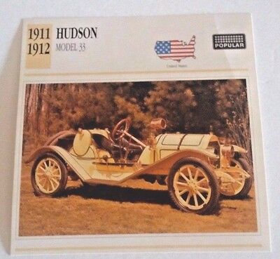 1911-1912 HUDSON MODEL 33  CARD Photo/Spec/Stat/Info - GOOD  CONDITION