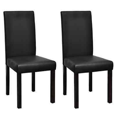 New 2pc PU Leather Dining Chair Black Kitchen Stool Set High Back Seat Modern