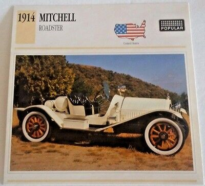 1914 MITCHELL ROADSTER  USA CARD  Photo/Spec/Stat/Info - MINT CONDITION