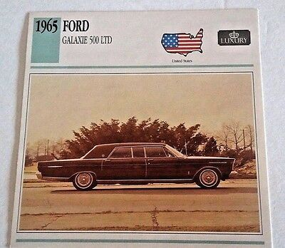 1965 FORD GALAXIE 500 LTD Photo/Spec/Stat/Info Card - MINT CONDITION
