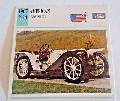 1907-1914 AMERICAN UNDERSLUNG ROADSTER  Photo/Spec/Stat/info Card - MINT