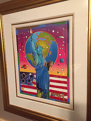 Liberty with Earth and Flag Acrylic Painting by Peter Max