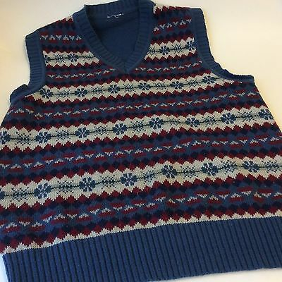 vintage blue fair isle  knitted men's tank top