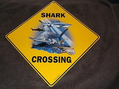 "Crosswalks Shark Crossing Sign 12"" x 12"" As Is"