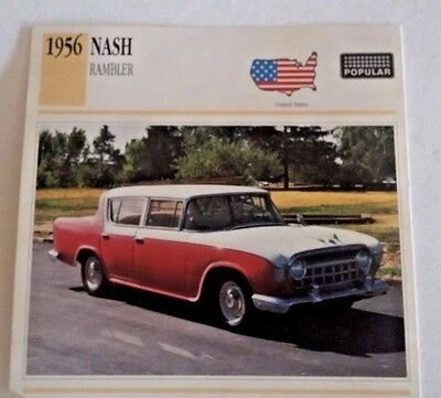 1956 NASH RAMBLER Photo/Spec/Stat/Info Card - GOOD  CONDITION