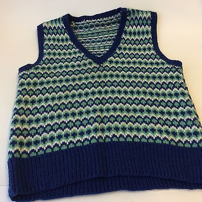 Hand knitted green and blue fair isle   men's tank top