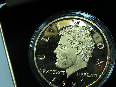 1993 22Kt PLATED H.G.EP PROOF Bill Clinton Inaugural Coin NEW QUEENSLAND MINT 20