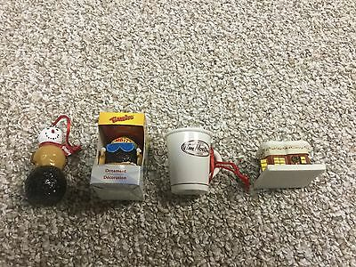 4 Tim Horton's Christmas Tree Ornaments !! One Is Chipped...