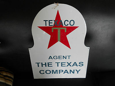 "Vintage Porcelain Metal Texaco Agent ""The Texas Company""  Advertising Sign Repro"