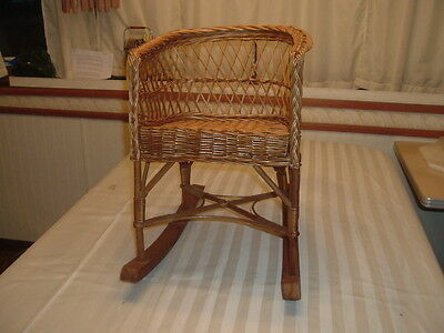 Nice Vintage Child,s Rocking Chair- Wicker And Bamboo