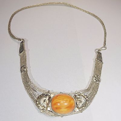 Vintage silver tone braid tribal necklace faux amber stone, hammered decoration