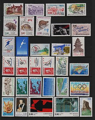 France - 31 Mint, NH stamps from 1991-92, cat. $ 42.30