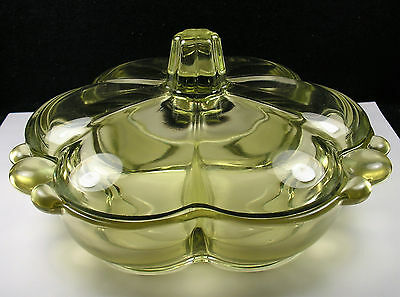 Vintage Duncan & Miller Glass Canterbury Chartreuse Green Divided Dish.