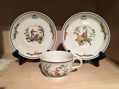 Italian Line Chinois Tea Cup and Two Saucers by Ginori EARLY PRODUCTION