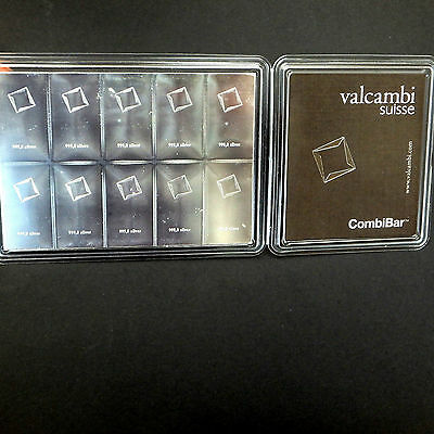 100g (10g x 10) Valcambi Suisse Silver Bar Investment Certified CombiBar 99.9%