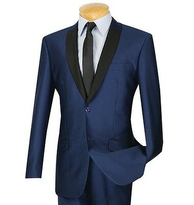 Men's Navy Blue Sharkskin 2 Button Slim-Fit Tuxedo Suit w/ Contrast Trim NEW