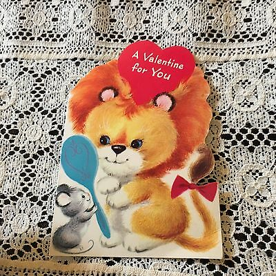 Vintage Greeting Card Valentine Cute Lion Mouse Mirror Norcross