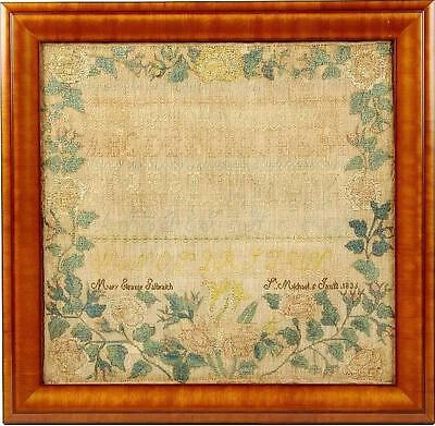 1836 AMERICAN Sampler NAMES SCHOOL, Mary Eleanor GALBRAITH at St. MICHAEL's