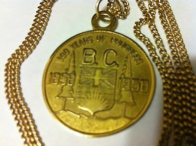 Canada Bc 1858-1958 10K Yellow Gold 13 Gram Pendant With 20 Inch Gold Chain Nr!