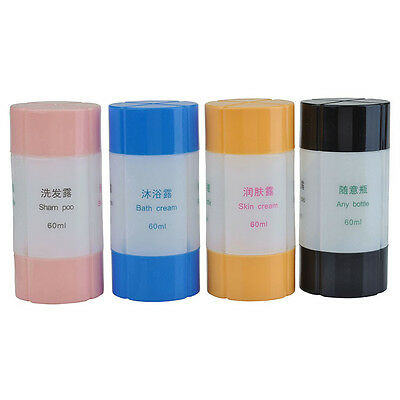4pcs Set Bottle Portable Travel Packing Container Empty For Lotion Shampoo Bath