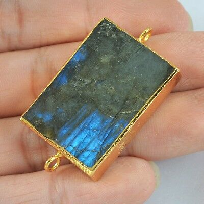 Rectangle Natural Labradorite Connector Gold Plated H77755