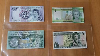 £1 one pound note, Isle of man, Jersey, Guernsey...X4 UNC
