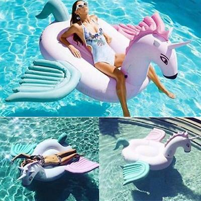 Inflatable Unicorn Pegasus Floating Swimming Pool Beach Waterbed Party Toy Pink
